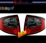 Baklampor med LED ljus. Audi A6 4B C5 / Rödsvart