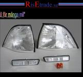 Front- och sidoblinkers i silver till BMW E36 Coupe+Cab.