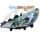 Peugeot..DRL = day running light.  Strålkastare med parkeringsljus i slinga...Ett par designstrålkastare